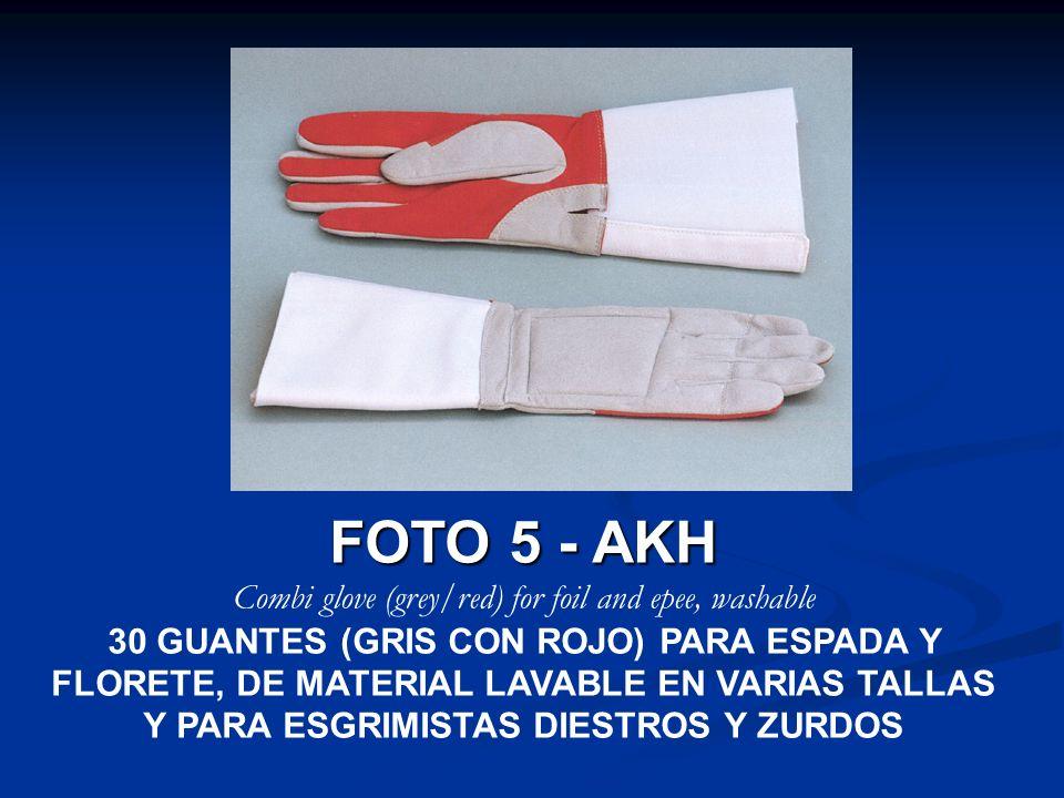 FOTO 5 - AKH Combi glove (grey/red) for foil and epee, washable 30 GUANTES (GRIS CON ROJO) PARA ESPADA Y FLORETE, DE MATERIAL LAVABLE EN VARIAS TALLAS