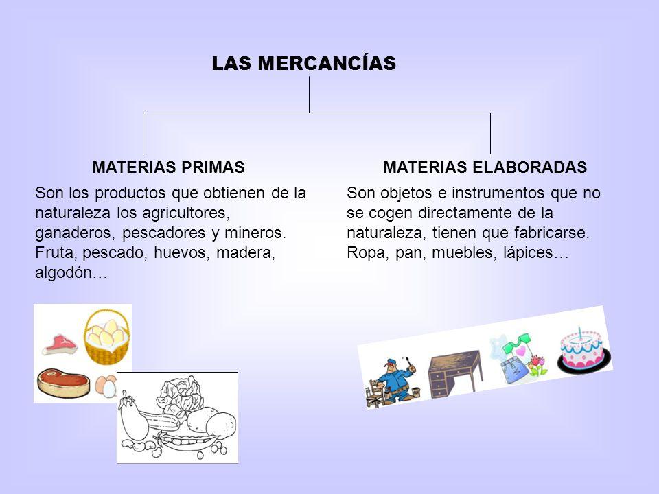 LAS MERCANCÍAS MATERIAS PRIMASMATERIAS ELABORADAS Son los productos que obtienen de la naturaleza los agricultores, ganaderos, pescadores y mineros. F