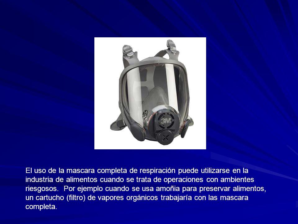 El uso de la mascara completa de respiración puede utilizarse en la industria de alimentos cuando se trata de operaciones con ambientes riesgosos. Por