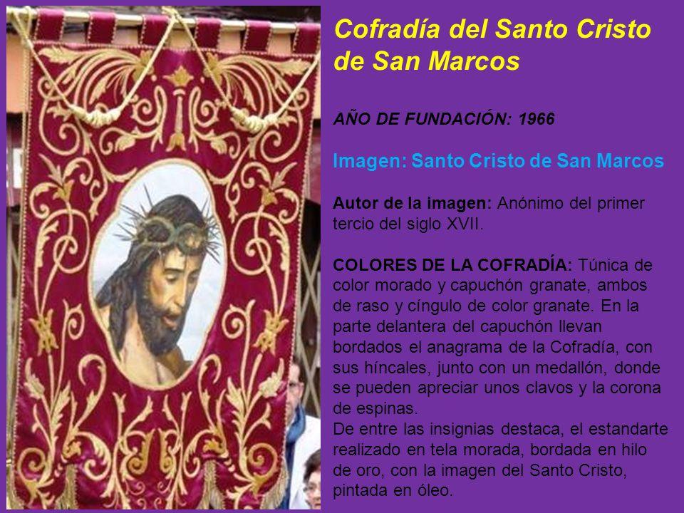 También porta la Cofradía el estandarte real, seguido por dos banderas con una Cruz morada; tres verónicas con la Santa Faz y estandarte de la Cofradí