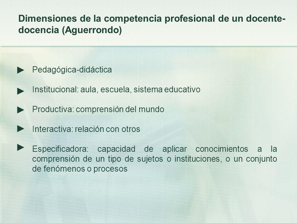 Pedagógica-didáctica Institucional: aula, escuela, sistema educativo Productiva: comprensión del mundo Interactiva: relación con otros Especificadora: