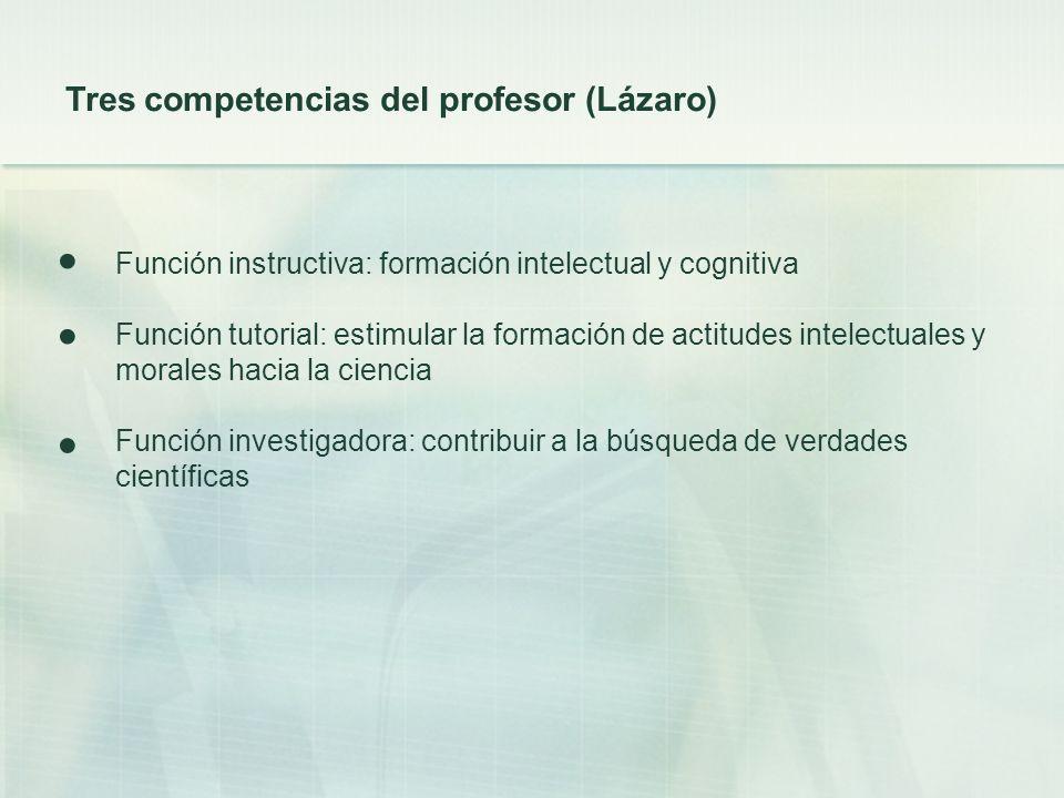 Función instructiva: formación intelectual y cognitiva Función tutorial: estimular la formación de actitudes intelectuales y morales hacia la ciencia