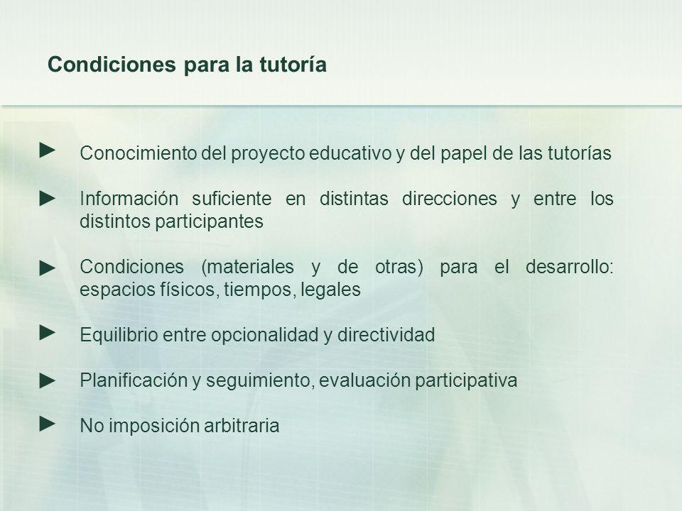 Conocimiento del proyecto educativo y del papel de las tutorías Información suficiente en distintas direcciones y entre los distintos participantes Co