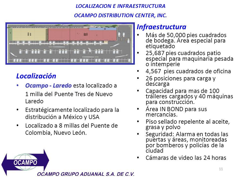 11 LOCALIZACION E INFRAESTRUCTURA OCAMPO DISTRIBUTION CENTER, INC.