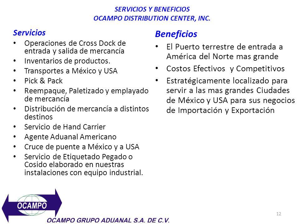 12 SERVICIOS Y BENEFICIOS OCAMPO DISTRIBUTION CENTER, INC. Servicios Operaciones de Cross Dock de entrada y salida de mercancía Inventarios de product