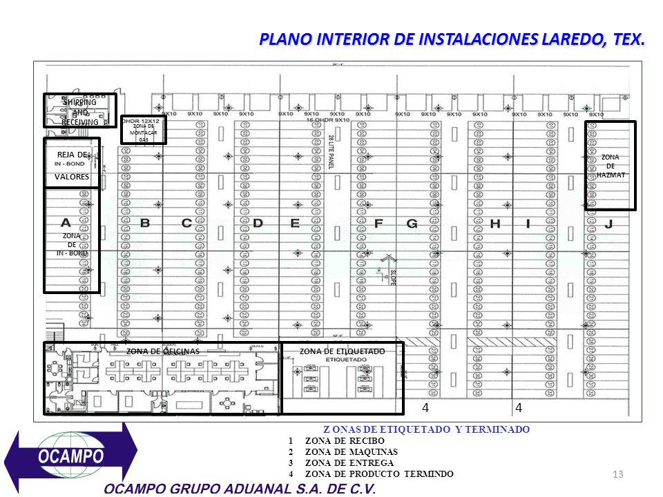 13 PLANO INTERIOR DE INSTALACIONES LAREDO, TEX.