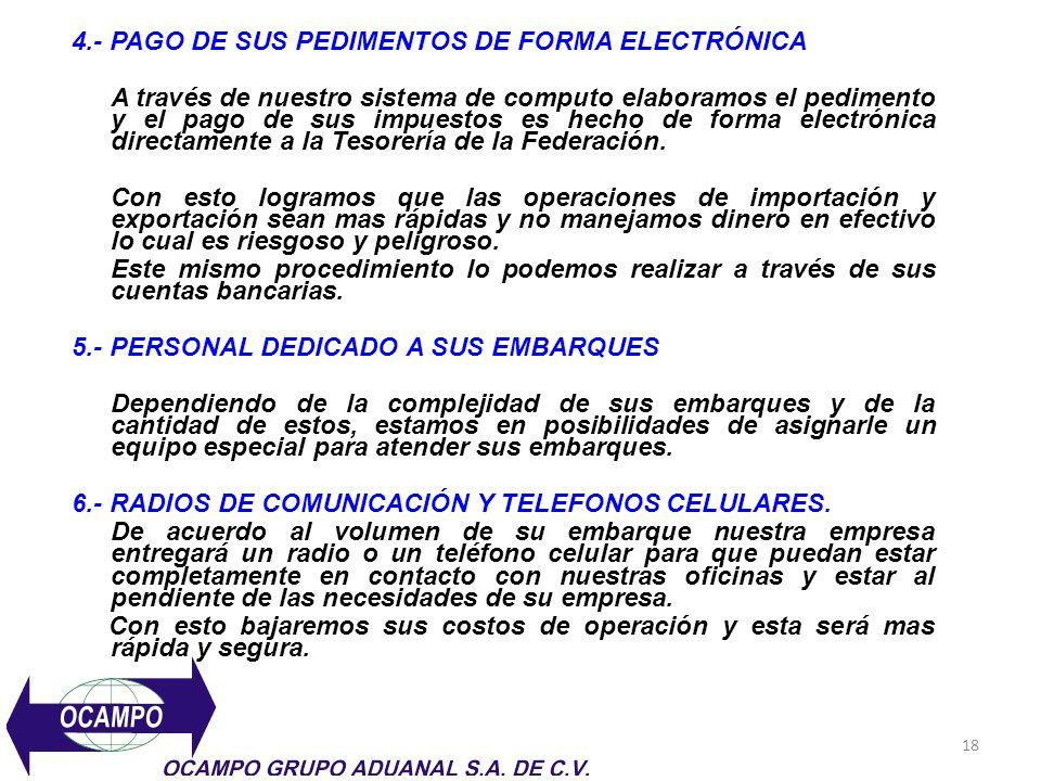 18 4.- PAGO DE SUS PEDIMENTOS DE FORMA ELECTRÓNICA A través de nuestro sistema de computo elaboramos el pedimento y el pago de sus impuestos es hecho de forma electrónica directamente a la Tesorería de la Federación.