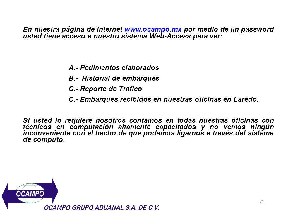 21 En nuestra página de internet www.ocampo.mx por medio de un password usted tiene acceso a nuestro sistema Web-Access para ver: A.- Pedimentos elabo