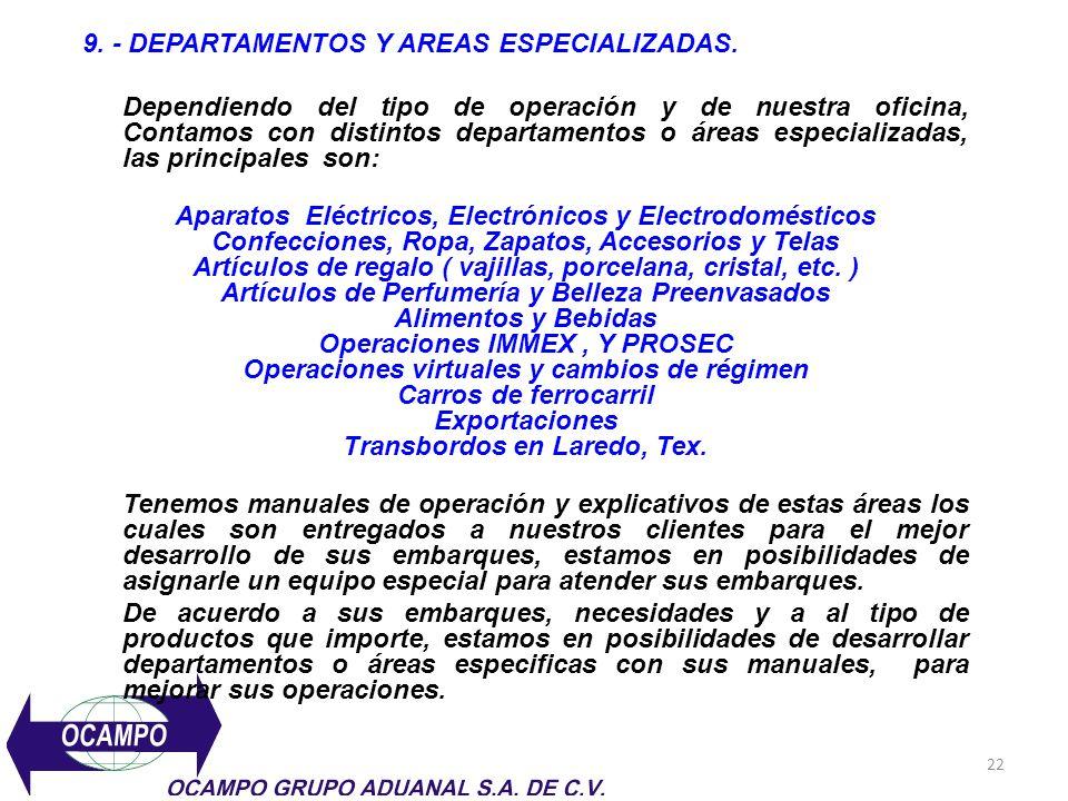 22 9. - DEPARTAMENTOS Y AREAS ESPECIALIZADAS. Dependiendo del tipo de operación y de nuestra oficina, Contamos con distintos departamentos o áreas esp