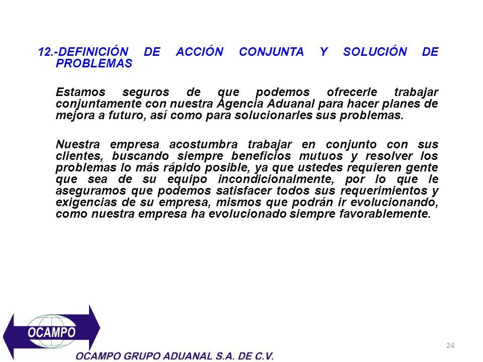 24 12.-DEFINICIÓN DE ACCIÓN CONJUNTA Y SOLUCIÓN DE PROBLEMAS Estamos seguros de que podemos ofrecerle trabajar conjuntamente con nuestra Agencia Aduan