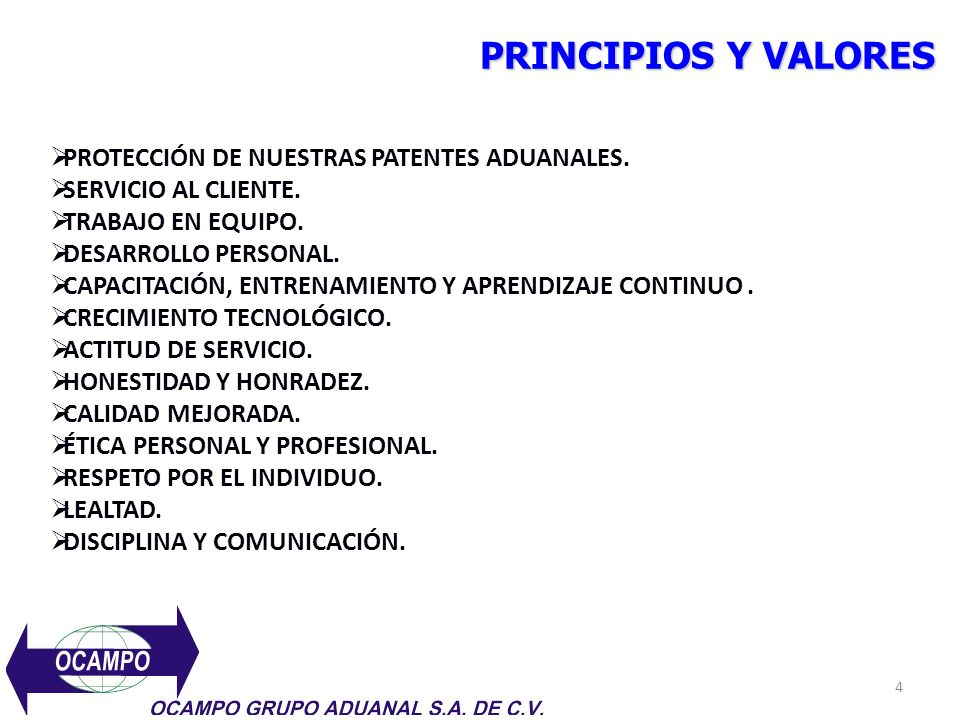 PRINCIPIOS Y VALORES PROTECCIÓN DE NUESTRAS PATENTES ADUANALES. SERVICIO AL CLIENTE. TRABAJO EN EQUIPO. DESARROLLO PERSONAL. CAPACITACIÓN, ENTRENAMIEN
