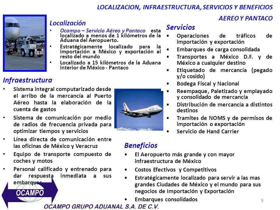 9 LOCALIZACION, INFRAESTRUCTURA, SERVICIOS Y BENEFICIOS AEREO Y PANTACO Localización Ocampo – Servicio Aéreo y Pantaco Ocampo – Servicio Aéreo y Pantaco esta localizado a menos de 1 kilómetros de la Aduana del Aeropuerto.