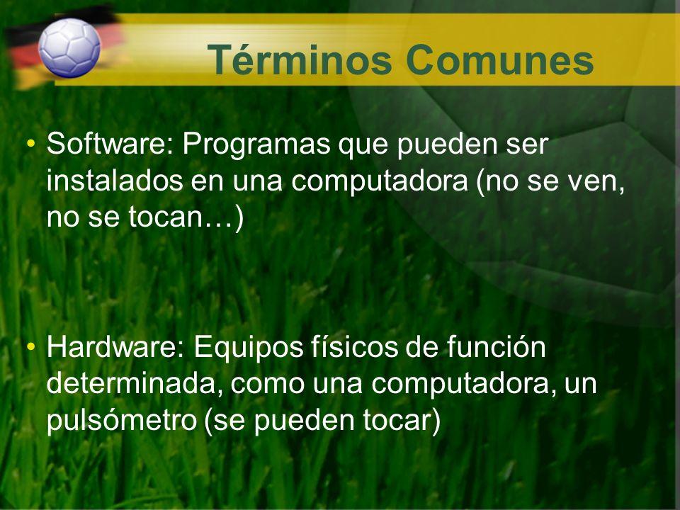 Términos Comunes Software: Programas que pueden ser instalados en una computadora (no se ven, no se tocan…) Hardware: Equipos físicos de función deter