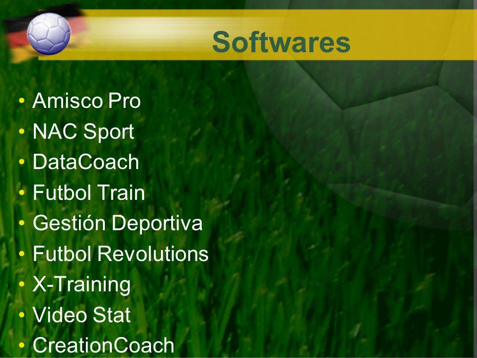 Softwares Amisco Pro NAC Sport DataCoach Futbol Train Gestión Deportiva Futbol Revolutions X-Training Video Stat CreationCoach