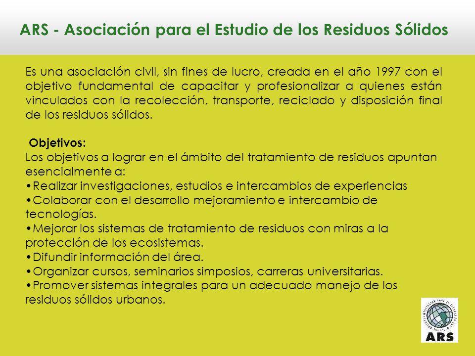 LA SITUACIÓN DE LOS RESIDUOS SÓLIDOS URBANOS EN ARGENTINA Ricardo Rollandi Director Ejecutivo de ARS Agosto de 2010 SEMINARIO GESTIÓN AMBIENTAL DE RESIDUOS