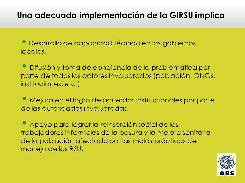 Una adecuada implementación de la GIRSU implica Inversión en infraestructura de disposición final ambientalmente segura y socialmente aceptable.