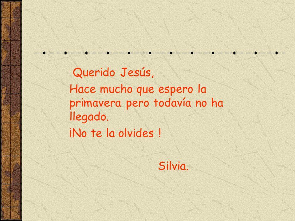 Querido Jesús, Hace mucho que espero la primavera pero todavía no ha llegado. ¡No te la olvides ! Silvia.