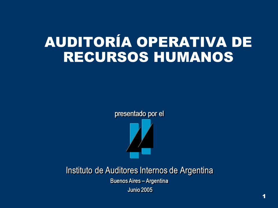 1 AUDITORÍA OPERATIVA DE RECURSOS HUMANOS presentado por el Instituto de Auditores Internos de Argentina Buenos Aires – Argentina Junio 2005 presentad