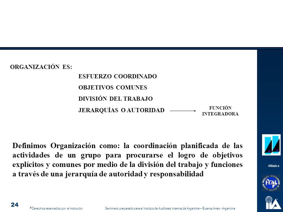 © © Derechos reservados por el instructor. Seminario preparado para el Instituto de Auditores Internos de Argentina – Buenos Aries - Argentina Afiliad