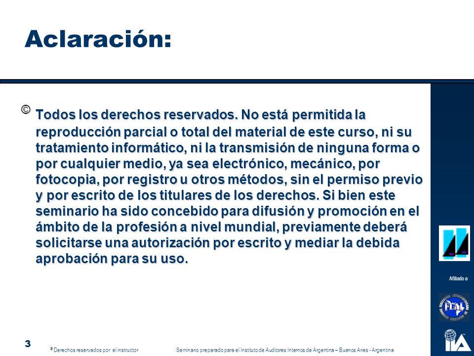 © © Derechos reservados por el instructor.