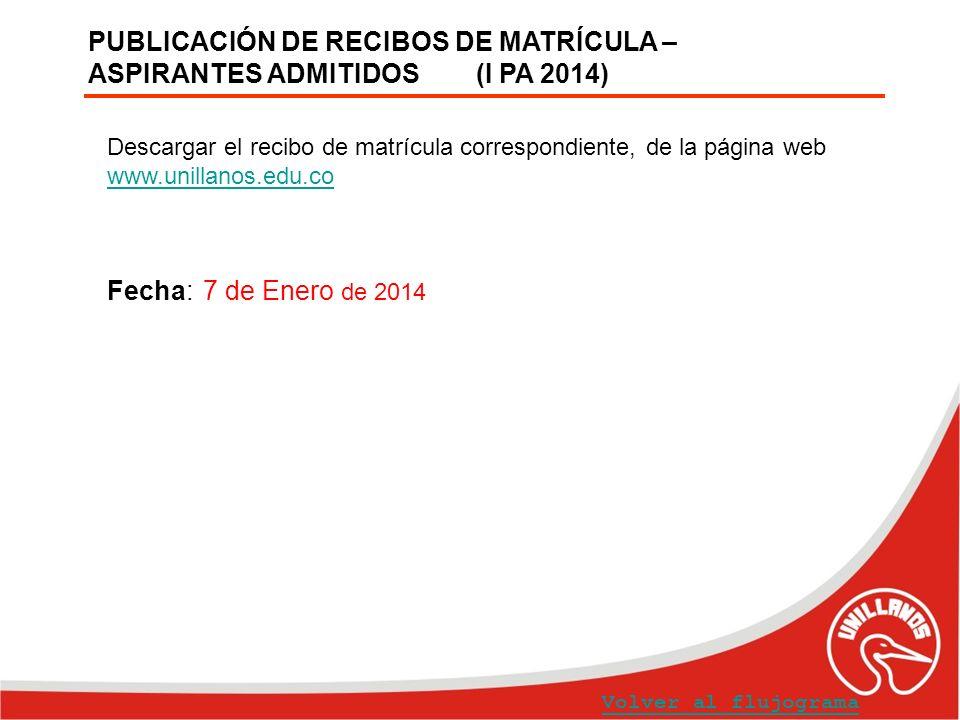 PUBLICACIÓN DE RECIBOS DE MATRÍCULA – ASPIRANTES ADMITIDOS (I PA 2014) Volver al flujograma Descargar el recibo de matrícula correspondiente, de la pá
