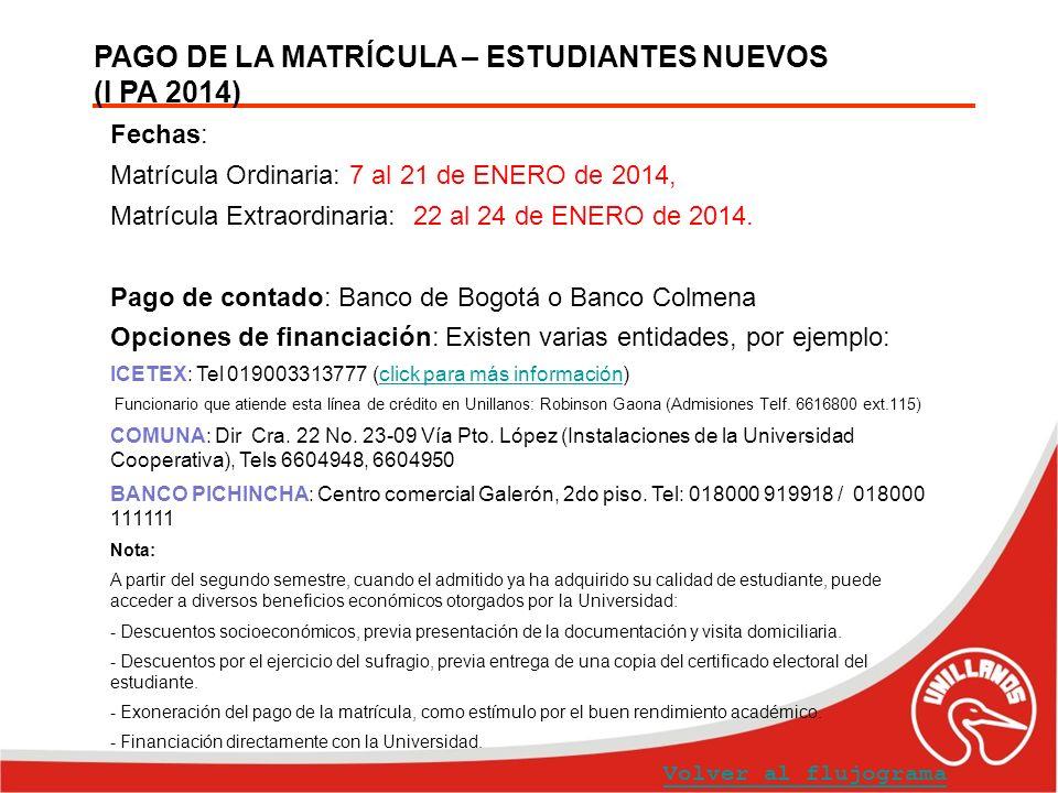 PAGO DE LA MATRÍCULA – ESTUDIANTES NUEVOS (I PA 2014) Volver al flujograma Fechas: Matrícula Ordinaria: 7 al 21 de ENERO de 2014, Matrícula Extraordin