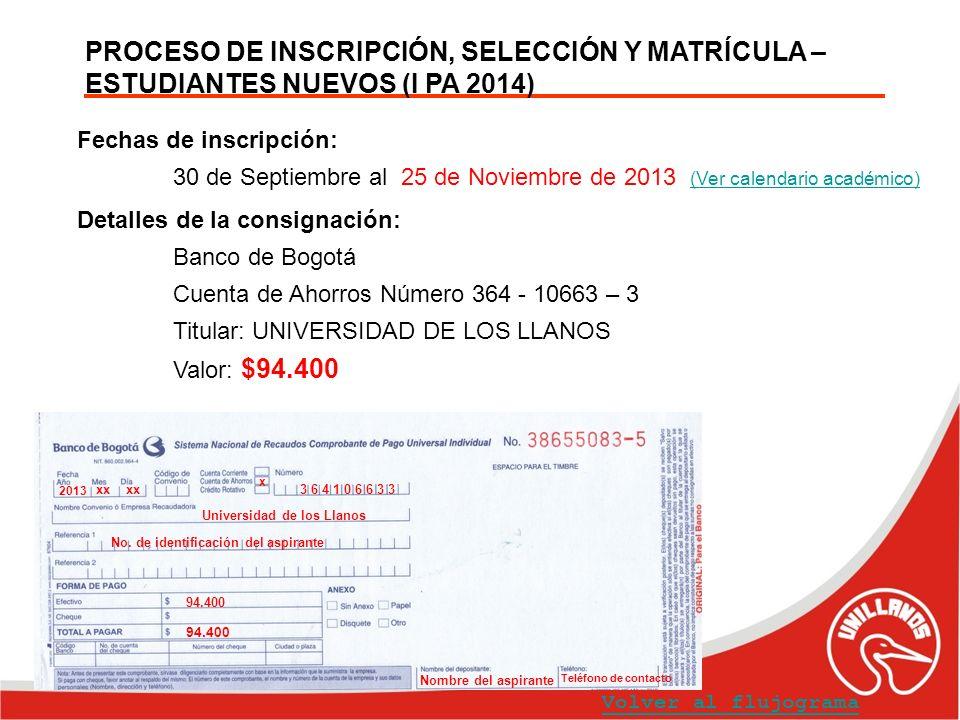 PROCESO DE INSCRIPCIÓN, SELECCIÓN Y MATRÍCULA – ESTUDIANTES NUEVOS (I PA 2014) Fechas de inscripción: 30 de Septiembre al 25 de Noviembre de 2013 (Ver