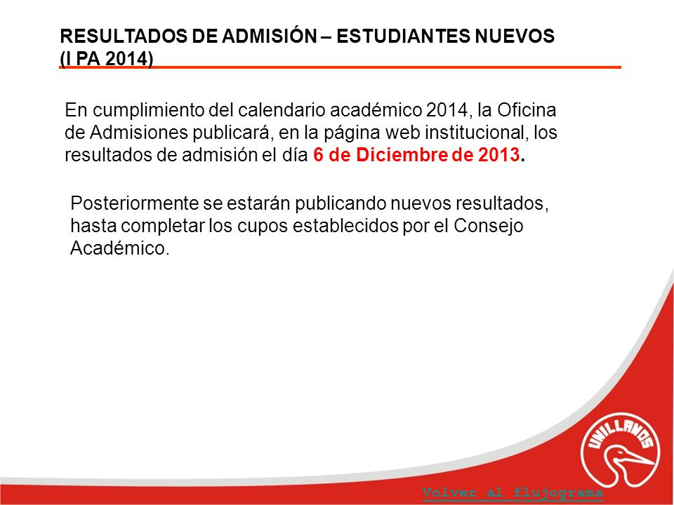 RESULTADOS DE ADMISIÓN – ESTUDIANTES NUEVOS (I PA 2014) En cumplimiento del calendario académico 2014, la Oficina de Admisiones publicará, en la págin
