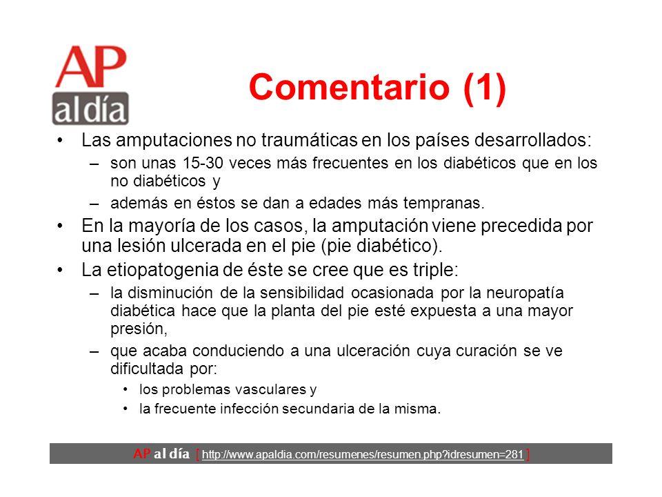 AP al día [ http://www.apaldia.com/resumenes/resumen.php idresumen=281 ] Conclusiones Los autores concluyen que una sencilla escala es efectiva para predecir el riesgo de ulceración en los pies de los pacientes diabéticos en la consulta habitual.