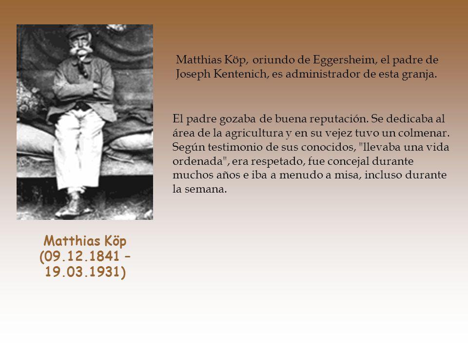 La madre, Katharina Kentenich, es la menor de varias hermanas. La pequeña casa donde nace Joseph Kentenich y donde transcurren sus primeros años es pr