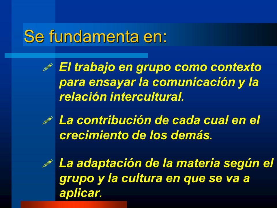 Se fundamenta en: El trabajo en grupo como contexto para ensayar la comunicación y la relación intercultural. La contribución de cada cual en el creci