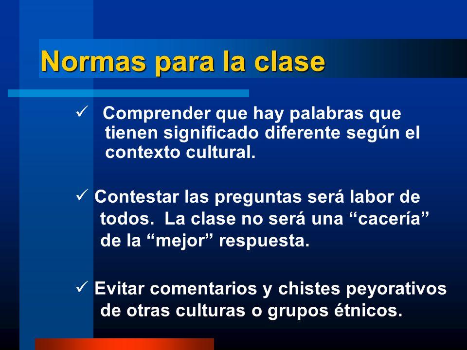 Normas para la clase Comprender que hay palabras que tienen significado diferente según el contexto cultural. Contestar las preguntas será labor de to