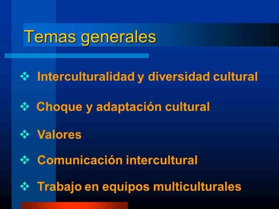Interculturalidad y diversidad cultural Choque y adaptación cultural Valores Comunicación intercultural Trabajo en equipos multiculturales