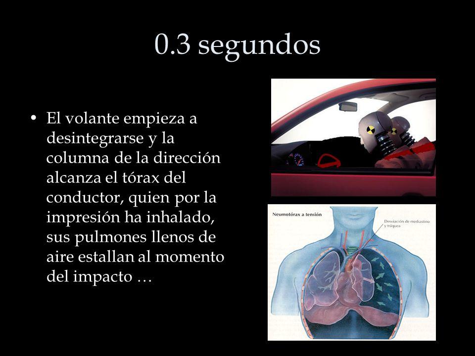 0.3 segundos El volante empieza a desintegrarse y la columna de la dirección alcanza el tórax del conductor, quien por la impresión ha inhalado, sus pulmones llenos de aire estallan al momento del impacto …
