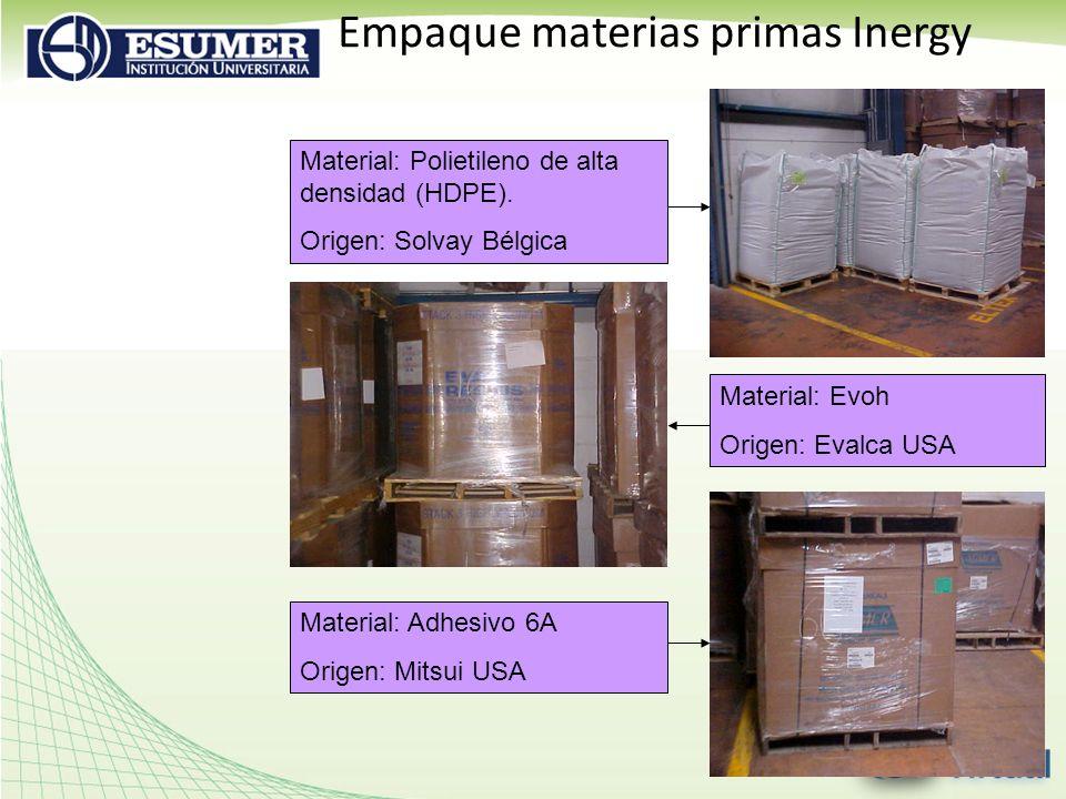 Empaque materias primas Inergy Material: Polietileno de alta densidad (HDPE). Origen: Solvay Bélgica Material: Adhesivo 6A Origen: Mitsui USA Material