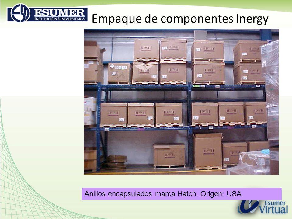 Empaque de componentes Inergy Anillos encapsulados marca Hatch. Origen: USA.