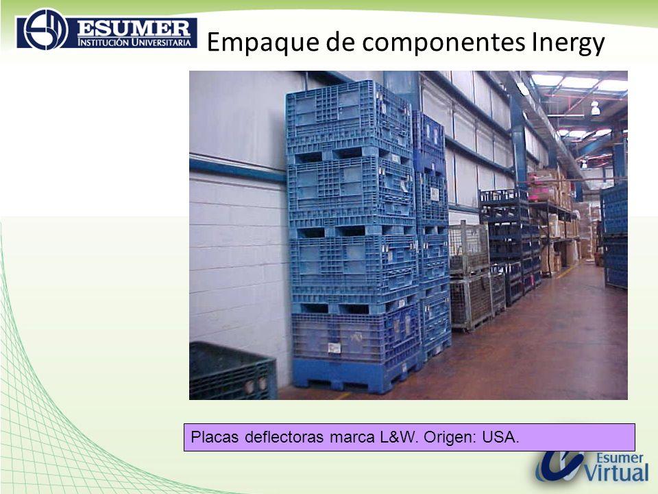Empaque de componentes Inergy Placas deflectoras marca L&W. Origen: USA.