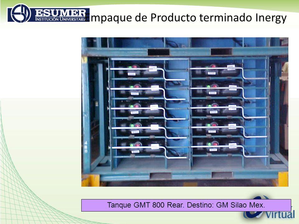 Empaque de Producto terminado Inergy Tanque GMT 800 Rear. Destino: GM Silao Mex.