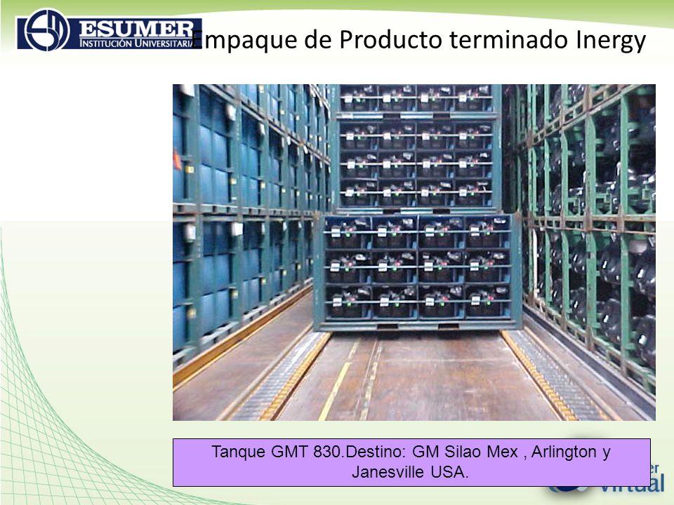 Empaque de Producto terminado Inergy Tanque GMT 830.Destino: GM Silao Mex, Arlington y Janesville USA.