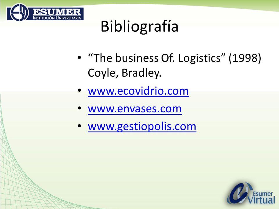 Bibliografía The business Of. Logistics (1998) Coyle, Bradley. www.ecovidrio.com www.envases.com www.gestiopolis.com