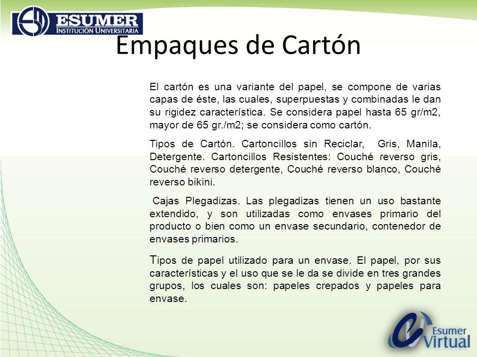 Empaques de Cartón El cartón es una variante del papel, se compone de varias capas de éste, las cuales, superpuestas y combinadas le dan su rigidez característica.