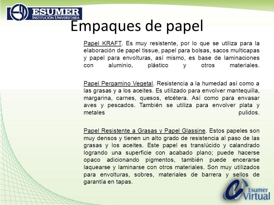 Empaques de papel Papel KRAFT. Es muy resistente, por lo que se utiliza para la elaboración de papel tissue, papel para bolsas, sacos multicapas y pap