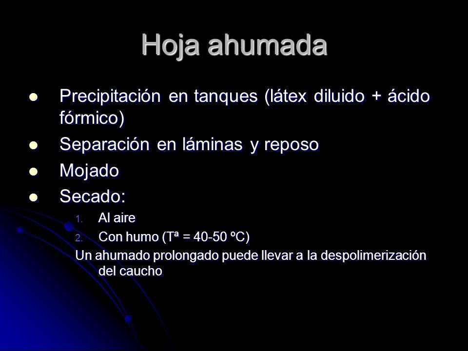 Hoja ahumada Precipitación en tanques (látex diluido + ácido fórmico) Precipitación en tanques (látex diluido + ácido fórmico) Separación en láminas y