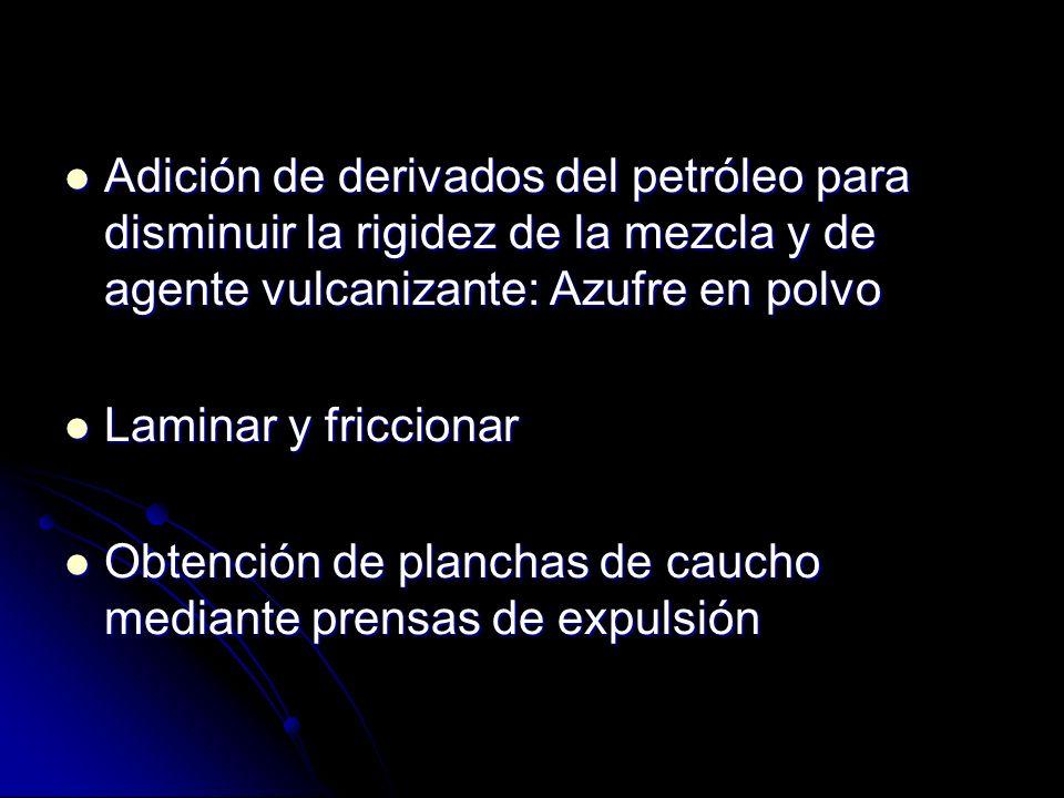 Adición de derivados del petróleo para disminuir la rigidez de la mezcla y de agente vulcanizante: Azufre en polvo Adición de derivados del petróleo p