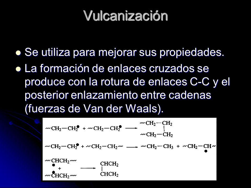 Vulcanización Se utiliza para mejorar sus propiedades. Se utiliza para mejorar sus propiedades. La formación de enlaces cruzados se produce con la rot