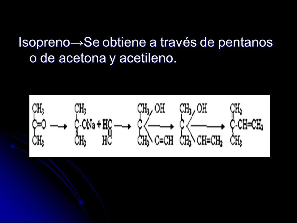IsoprenoSe obtiene a través de pentanos o de acetona y acetileno.