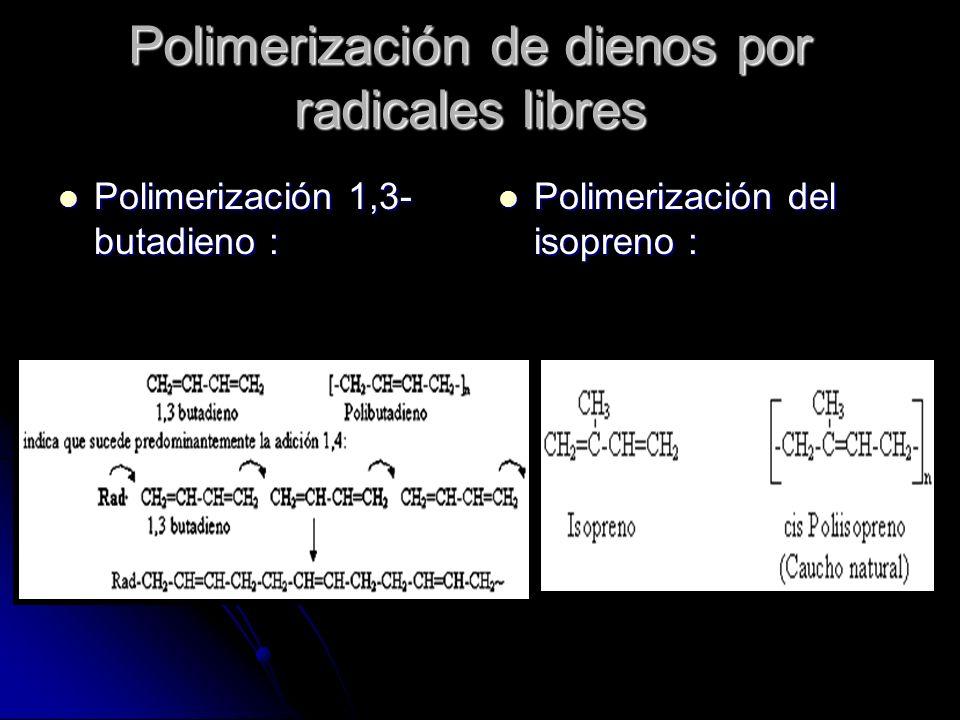 Polimerización de dienos por radicales libres Polimerización 1,3- butadieno : Polimerización 1,3- butadieno : Polimerización del isopreno : Polimeriza
