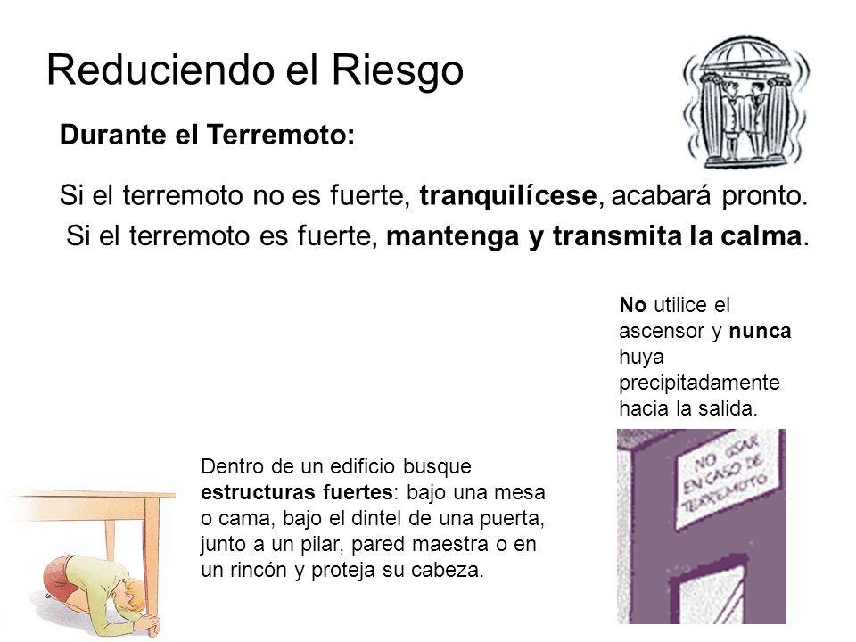 Reduciendo el Riesgo Durante el Terremoto: Si el terremoto no es fuerte, tranquilícese, acabará pronto.