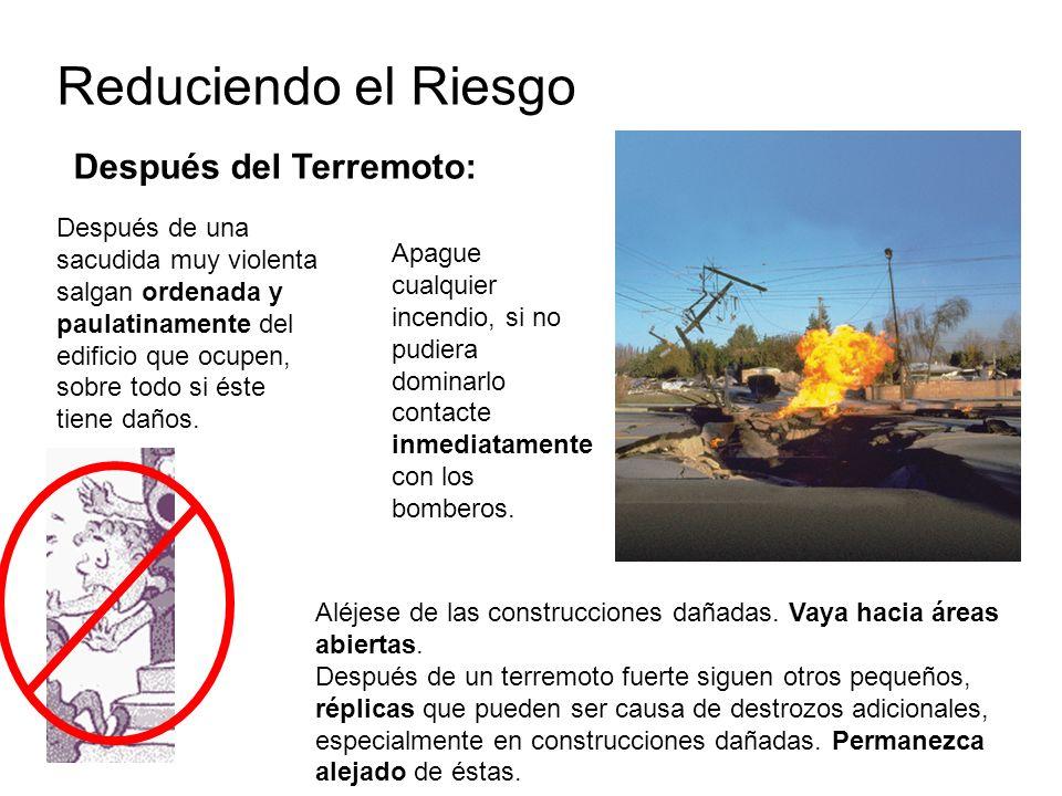 Reduciendo el Riesgo Después del Terremoto: Apague cualquier incendio, si no pudiera dominarlo contacte inmediatamente con los bomberos. Después de un