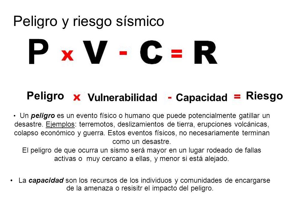 Peligro y riesgo sísmico P Peligro VulnerabilidadCapacidad Riesgo Un peligro es un evento físico o humano que puede potencialmente gatillar un desastre.